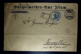 Belgium Cover Issum To  Brussels , 1912 OPB TX 9 - Strafportzegels
