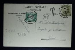 Belgium Picture Postcard Antwerp To Gent, 1921 OPB 166 + TX12 - Strafportzegels