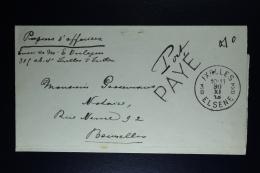 Belgium Cover Elsene To Brussels 30-11-1918 Port Paye Whereby Port Manually Written
