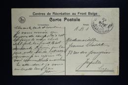 Belgium Picture Postcard Belgium Army  Centres De Récréation Au Front Belge Crefeld To Jupille 1924