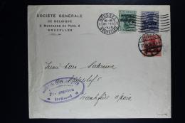 Reich Occupation Belgium Cover Brussels To Frankfurt 1916 Mi Nr 2 + 3 + 4  3 Color Franking Bankkommision Censored - Besetzungen 1914-18