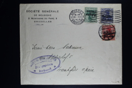 Reich Occupation Belgium Cover Brussels To Frankfurt 1916 Mi Nr 2 + 3 + 4  3 Color Franking Bankkommision Censored