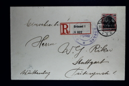 Reich Occupation Belgium Registered  Cover Brussels To Stuttgart 1915  Mi Nr 5