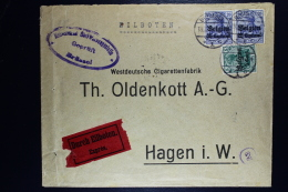 Reich Occupation Belgium Expres Cover Brussels To Hagen 1916  Mi Nr 2 + 4