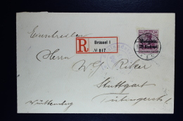 Reich Occupation Belgium Registered Cover Brussels To Stuttgart 1915  Mi Nr 6