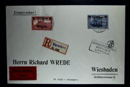 Reich Occupation Belgium Registered Expres Cover Verviers To Wiesbaden 1-11-1918 Mi Nr 8 + 9