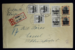 Reich Occupation Belgium Registered Cover Brussels To Cassel 2-11-1918  Mi Nr 10 + 17 In Pairs