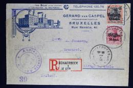 Reich Occupation Belgium  Registered Cover Brussels Schaerbeek  To Baarlo Holland  1918  Mi Nr 14 + 19