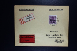 Reich Occupation Belgium Registered Expres Cover Verviers Local  10-11-1916  Mi Nr 21