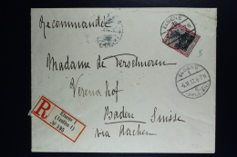 Reich Occupation Belgium Registered  Cover Elsene To Baden Switserland 1917  Mi Nr 20