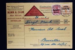 Reich Occupation Belgium Nachname Remboursement  Brussels Local  1917  Mi Nr 13 + 14 - Occupation 1914-18