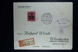 Reich Occupation Belgium Registered Cover Sint-Gillis To Wiesbaden  1918  Mi Nr 22