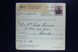 Reich Occupation Belgium Pakketkarte  Couillet To Marche  1918  Mi Nr 20 + 14