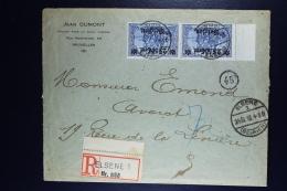Reich Occupation Belgium Registered Cover Elsene  24-10-1918  Mi Nr24 II B Paar Mit Randstuck RRR