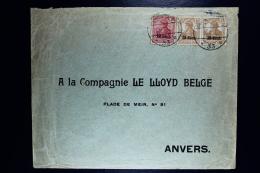 Reich Occupation Belgium Etappengebiet West Cover Antwerpen 1917  Mi Nr 4 + 5*2