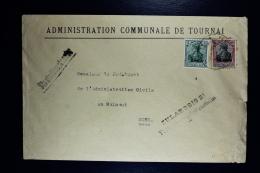Reich Occupation Belgium Cover Tournai To Mons 1918  Mi Nr 2 + 8   Zulaessig 2