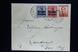 Reich Occupation Belgium Cover Lüttich To Landstufe Rare Mischfrankatur 1914 Mi Nr 3+4 + OPB  118