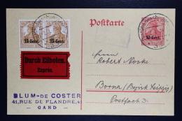 Reich Occupation Of Belgium Postcard Ettapegebiet P1 + Mi Nr 5 Strip 1918