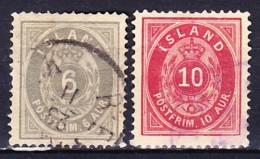 ISLANDE 1876 YT N° 7 A Et 8 A Obl. (DENT 14x13½) - Oblitérés