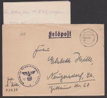 """Feldpost 1942, Brief Mit Inhalt """"Im Osten"""" Von Fp-Nr 53434 Aptierter Stempel - Covers & Documents"""