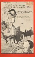 HBY-26 Neuchâtel 1902 Litho Cortège Des Vendanges. Carte Officielle Cachet St-Blaise 1907 - NE Neuenburg