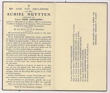 DP Achiel NUYTTEN - Ghesquière - Moorsele - Ledegem - 1885 / 1955 - Todesanzeige