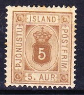 ISLANDE SERVICE 1876-1901 YT N° S 5 Et 7 * - Officials