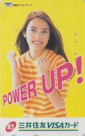 Télécarte Japon - Banque Bank VISA - FEMME - GIRL Woman Japan Phonecard - FRAU Telefonkarte - 2551 - Publicité