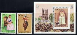 1977  Reine Elisabeth II - Série Complète Et Bloc Feuillet ** - Haute-Volta (1958-1984)
