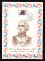 """FRANCE 1991 : Encart 1er Jour N°té / Soie Rare (1023/1300) Edit° A.M.I.S. : """" LA TOUR D'AUVERGNE """". N°YT 2703. Parf état"""