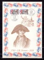 """FRANCE 1989 : Encart 1er Jour N°té / Soie Rare (1632/1750) Edit° A.M.I.S. : """" J.B. DROUET """". 2 X N° YT 2569. Parf état"""