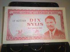GUINEA 1960 (1970) 10 SYLIS P-16 BANKNOTE LOC#A1195 - Guinea