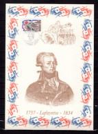 """FRANCE 1989 : Encart 1er Jour N°té / Soie Rare (595/1750) Edit° A.M.I.S. : """" LAFAYETTE """". N° YT 2567. Parf état"""