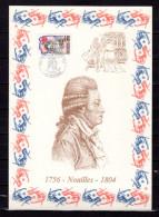 """FRANCE 1989 : Encart 1er Jour N°té / Soie Rare (1710/1750) Edit° A.M.I.S. : """" NOAILLES """". N° YT 2566. Parf état"""