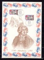 """FRANCE 1989 : Encart 1er Jour N°té / Soie Rare (388/1750) Edit° A.M.I.S. : """" MIRABEAU """". 2 X N° YT 2565. Parf état"""
