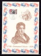 """FRANCE 1989 : Encart 1er Jour N°té / Soie Rare (1667/1750) Edit° A.M.I.S. : """" E. SIEYES """". N° YT 2564. Parf état. FDC"""