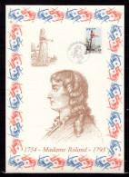 """FRANCE 1989 : Encart 1er Jour N°té / Soie Rare (940/1750) Edit° A.M.I.S. : """" MADAME ROLAND """". N° YT 2593. Parf état"""