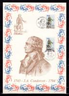 """FRANCE 1989 : Encart 1er Jour N°té / Soie Rare (977/1750) Edit° A.M.I.S. : """" J.A. CONDORCET """". 2 X N° YT 2592. Parf état"""