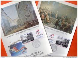"""FRANCE 1988 : 2 Encarts 1er Jour En Soie N°té Rares """" BICENTENAIRE DE LA REVOLUTION """" N° YT 2537 38. Parfait état. FDC"""