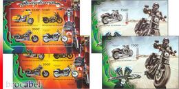 Burundi BL 0446/47** Harley Davidson - MNH - 4 Blocs: Full Set  !