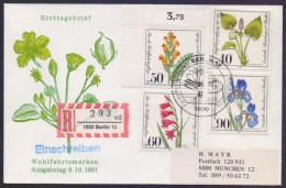 GERMANY BERLIN 1981 FDC - Plants, Postal Used Registered From Berlin, Complete Set On First Day Cover - Plants