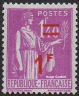 France Type Paix N°  484 ** Surchargé, Le 1F Sur 1f40 Lilas - 1932-39 Paix