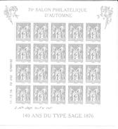 Bloc Du 70e Salon Philatélique D'automne _ 140 Ans Du Type Sage 1876 ** _ Dans Sa Pochette - Neufs