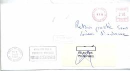 Lettre Machine Paris + Flamme Paris Retour + Paris Agence Spatiale Europeenne - Postmark Collection (Covers)