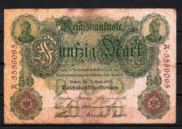 Allemagne - Germany 21-04-1910 Billet 50 Mark Pick 41 Fine (1) - [ 2] 1871-1918 : German Empire