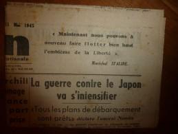11 Mai 1945 L'UNION : L'héroïque Résistance Des Forces Françaises En Indochine;  Guerre Contre Le Japon ; Etc... - Journaux - Quotidiens