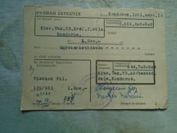 D142147  Hungary  Kondoros  Tax  Receipt  1961 - Rechnungen