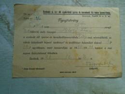 D142148  Hungary  Szolnok - Iparos  és Kereskedö  Fiú-leány  Szakiskola  Nyugtatvány  Receipt  5 P 20 Fill 1940 - Facturas & Documentos Mercantiles