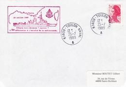 FREGATE FAA CASSARD 1 ERE AFFECTATION A L'ESCADRE DE MEDITERRANEE TOULON 25/7/1989 - Marcophilie (Lettres)