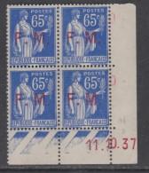 France F. M. N° 8 XX  65 C. Outremer En Bloc De 4 Coin Daté Du 11 . 10 . 37,  Sans Point Blanc, Sans Charnière, TB - Ecken (Datum)